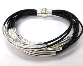 Black Leather Jewelry, Wrap Bracelet, Black Leather Silver Tube Wrap Bracelets, Cuff Bangle, Leather Bangle   Leather   Tube Bracelet