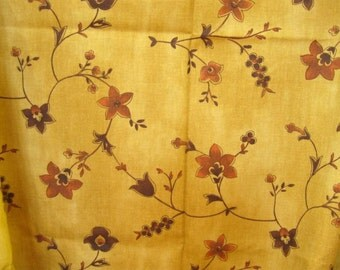 Tan Home Decor Floral Cotton Fabric Yardage