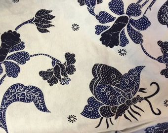 White and Blue Butterfly Floral Quilting Cotton Fabric Yardage