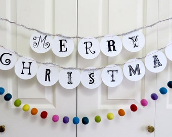 MERRY CHRISTMAS quirky circle paper banner