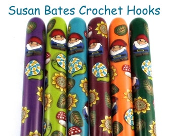 Crochet Hook, Polymer Clay Covered Susan Bates Crochet Hook, Gnome Design