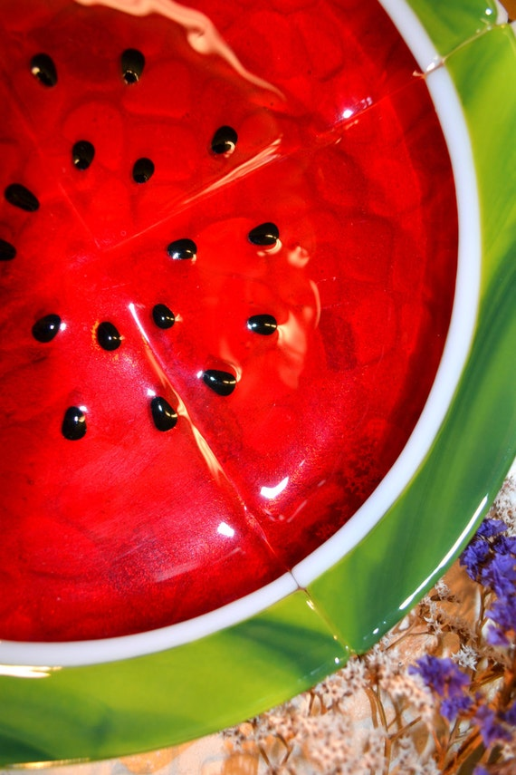 Watermelon Bowl, Fused Glass