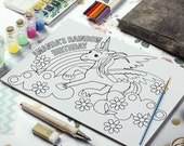Rainbow unicorn Printable Coloring Page - Printable Coloring Placemat - Printable Party Favors - Rainbow Party Printables