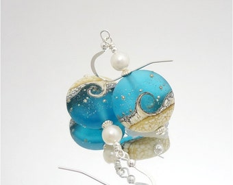 Blue Ivory Earrings, Wave Earrings, Lampwork Earrings, Glass Earrings, Ocean Earrings, Beach Jewelry, Beach Earrings, Beadwork Earrings