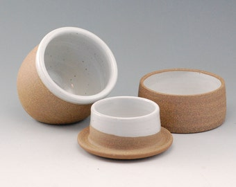 French Butter Keeper and Salt Cellar Duo - Ceramic Butter Keeper  - Ceramic Salt Cellar - Ceramics - Pottery