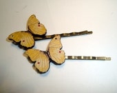 Set of Two Butterfly Bobbie Pins - Hair Pins with Butterflies - Handmade - Choose Yellow, Blue, Brown/Orange