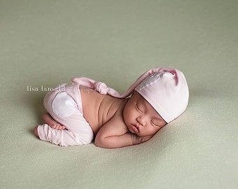 Pink Newborn Photography Prop - Newborn Girl Pants Stocking Hat Prop -Baby Girl Photo Prop Set - Newborn Photo Prop
