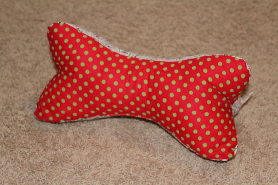 Items similar to Christmas Green and Red Dog Bone Shaped ...