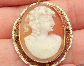Carved Shell, Antique Cameo, Brooch/Pendent, Solid 14K Gold Setting, Italian Hand Carved Gold Filigree Cameo