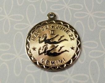 Vintage 1960s Sterling Silver Gemini Zodiac Birthday Charm For Bracelet