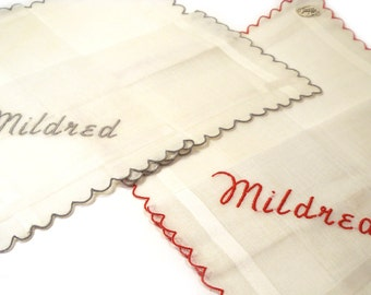 2 Vintage 1950s Burmel Original Handkerchiefs Embroidered MILDRED Never Used with Tags Made in Ireland