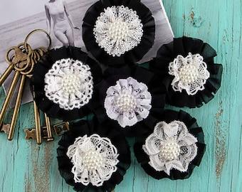 "Prima Sarasota Still - 6pcs 2"" inch Black White 577971 Chiffon Lace Fabric Flowers. Pearl Flowers. DIY Hair Supplies. Floral Embellishment."