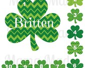 Girl's St. Patricks Day Shirt Personalized 3 leaf Clover Shirt or Bodysuit Size Newborn 3 mo 6 mo 9 mo 18 mo 24 mo 2t 3t 4t 5 6 8 10 12