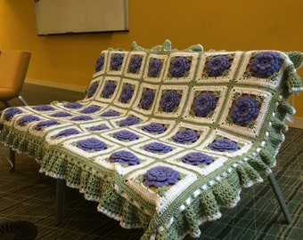 Lavender Roses crocheted afghan with Sage ruffles, white ribbons and Bows - Made Fresh After Sale - 35 squares