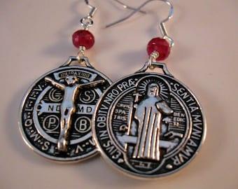 St. Benedictine Medal earrings, dangle earrings, drop earrings, ruby earrings, gemstone earrings, christian earrings,christian jewelry,jesus