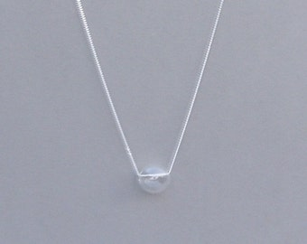 Clear Hand Blown Glass Bead Necklace