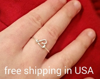 girls ring heart sterling silver FREE SHIPPING valentine's day
