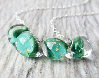Shamrock Green Glass Lampwork Necklace, Green and Gold Glitter Lampwork Glass Handmade Teadrops, Sterling Silver, St. Patricks Day, Gift