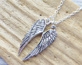 Pair of Angel Wings Necklace, Silver Angel Wings Charm Necklace, Feather Necklace, Spiritual Necklace, Angelic, Layering Necklace