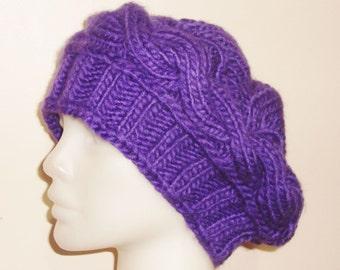 Knit Womens Hat in Purple Hat, Purple Knit Hat