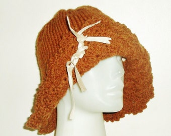 Womens hat winter hat Cinnamon Knit Hat Cloche hat Womens Hats brown knit hat womens gift for her mothers day gift birthday gift