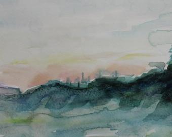 Original Watercolor painting- Sunrise- Great Gift- 7x14