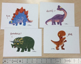 Cussing Dinosaurs print set by Ron Chan.