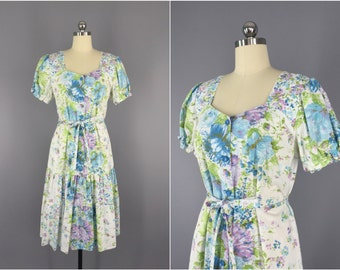 Vintage 1930s Dress / 30s Day Dress / Floral Print Cotton / 1930 Summer Peasent Dress / Size Medium M