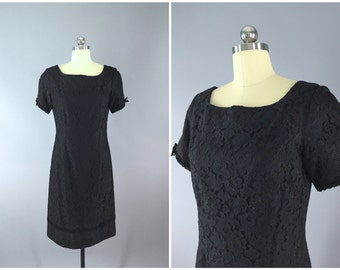 Vintage 1950s Dress / 50s Lace Dress / Helen Whiting / Little Black Dress LBD / Size Medium Large M L