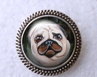 Fawn Pug Ring ~ Girlfriend Gift ~ Pug Lover ~ June Birthday ~ Pug Painting ~ Pug Jewelry ~ Pug Portrait