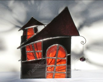 Halloween Decoration Stained Glass Candle Holder Haunted House Orange Purple Handmade OOAK
