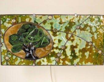 Stained Glass Lamp Wall Lamp Tree of Life Green Forest Khaki Accent Lamp Handmade