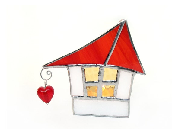 Votive Candle Holder Stained Glass Red Roof Cottage Handmade OOAK