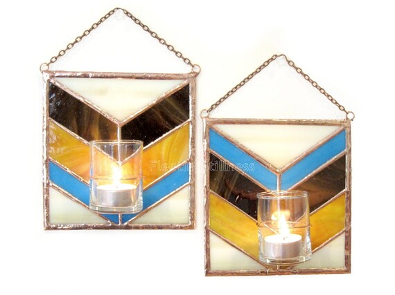 Candle Holder PAIR Wall Candle Holder Bud Vase Chevron Brown Beige Blue Stained Glass Handmade OOAK