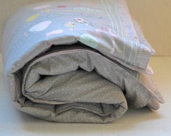 Pastel Toddler Blanket - Preschool Blanket - Reversible Blanket - Toddler Bedding - Toddler bedding girl - Grey and Peach blanket