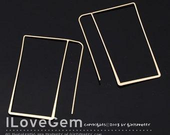 SALE / 10pcs / NP-1666 Gold plated, Big rectangle, Earhook, Wire earrings, Mordern Hoop Earrings, Ear wire
