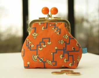 Golden metal frame coin purse/ orange bobbles /Downton Abbey Egyptian Collection/ blue yellow signs on orange