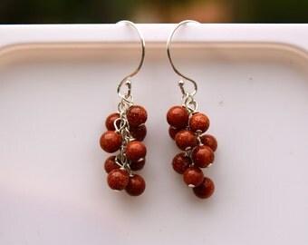 Goldstone Earrings, Gold, Silver, Cluster Earrings, Waterfall, Cascade, Orange Gemstone, Dangle Earrings, Drop, Sandstone, Gemstone Earrings