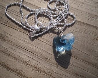Blue Swarovski Crystal Butterfly Pendant Necklace