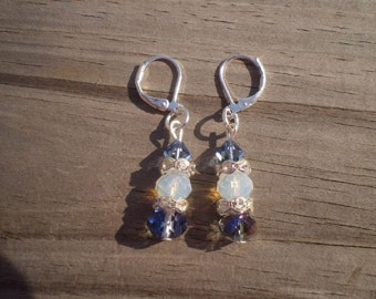 Faceted Opalite and Crystal Leverback Earrings