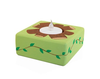 Custom Hand Painted Wooden Tea Light Holder with Battery Operated LED Candle - Candle Night Light - Woodland Camp Fire or Any Theme