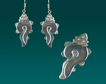 Aztec Shell Pendant/Brooch and earring set.