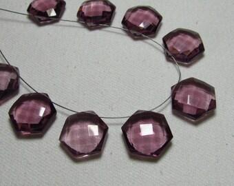 5 Matched Pairs - Pink Topaz Color QUARTZ - Super Sparkle Fine Cut Fancy Shape Briolettes Huge size - 15x15 mm So Nice Items