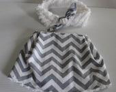 Gray Chevrons Bib and Coordinating Hair Band: Bib 'n Bow Baby Girl Gift, Baby Girl Shower Gift