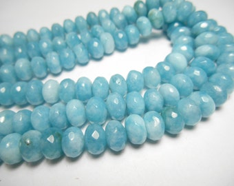 Gemstone Beads, Faceted Angelite Rondelles, 8x6mm 10 pieces