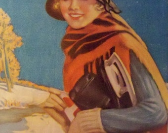 Modern Priscilla  Magazine Cover Art to frame Art Deco Girl carrying ice skates wearing hat and scarf Winter Scene 1924