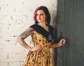 Sale on Sample Traditional Tattoo Flash Print Pinup Vintage Style Dress with Denim Embroidered Yoke MOMMY & ME