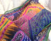 Beautiful Colorful Indian Bhandani Print, Large Chiffon Scarf Wrap - G693