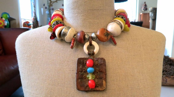 Vintage Moroccan Berber fossil amber,Talhakimt, amulet necklace