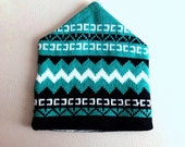 80s Wool Ski Hat - Eastern Mountain Sports EMS - Dead Stock Vintage - Teal Green Black White Winter Cool - Never Worn w/ Original Tags